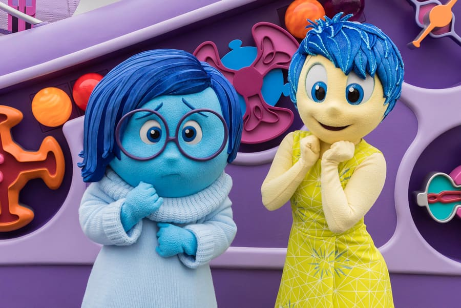 "Joy and Sadness from ""Inside Out"" at Pixar Pier in Disney California Adventure Park"