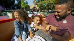 Family on the Mad Tea Party at Disneyland Park