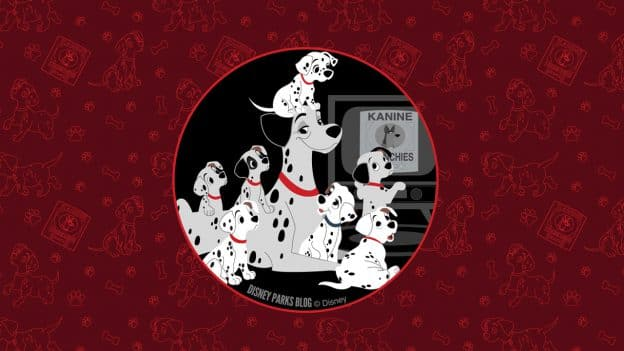 "Disney Parks Blog Father's Day Wallpaper featuring Pongo and his puppies from ""101 Dalmatians"" by artist Ashley Taylor"