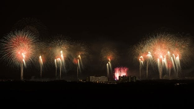 Fireworks around Bay Lake Tower at Disney's Contemporary Resort