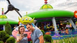Alien Swirling Saucers Selfie Spot in Toy Story Land