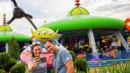 Alien Swirling Saucers Selfie Spot in Toy Story Land