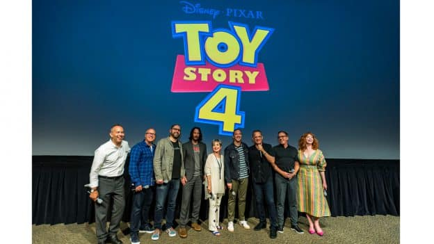 Stars of Toy Story 4, including Tom Hanks as Woody, Tim Allen as Buzz Lightyear, Annie Potts as Bo Peep, Tony Hale as Forky, Christina Hendricks as Gabby Gabby, and Keanu Reeves as Duke Caboom with director Josh Cooley, and producers Mark Nielsen and Jonas Rivera at Disney's Hollywood Studios.