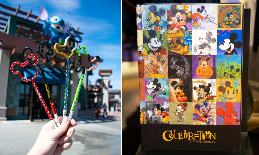 Disney character's wooden pencils and Disney notebook