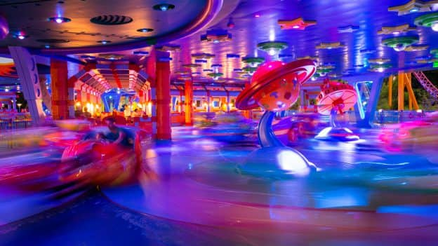 Nighttime photos of Alien Swirling Saucers at Disney's Hollywood Studios