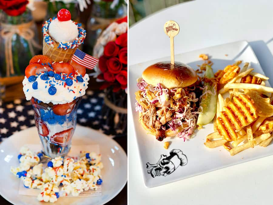 Milkshake from Wolfgang Puck Bar & Grill and Championship Pulled Pork Sandwich fromPlanet Hollywood