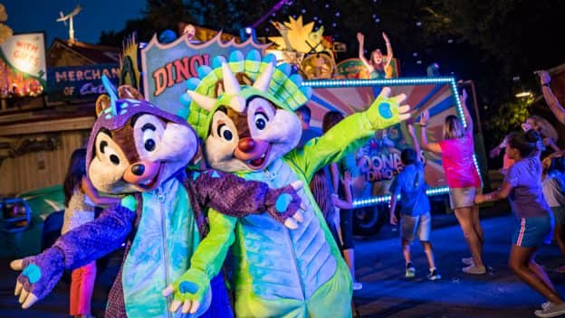 Chip 'n Dale in their dinosaur suits at Donald's Dino-Bash! at Disney's Animal Kingdom park