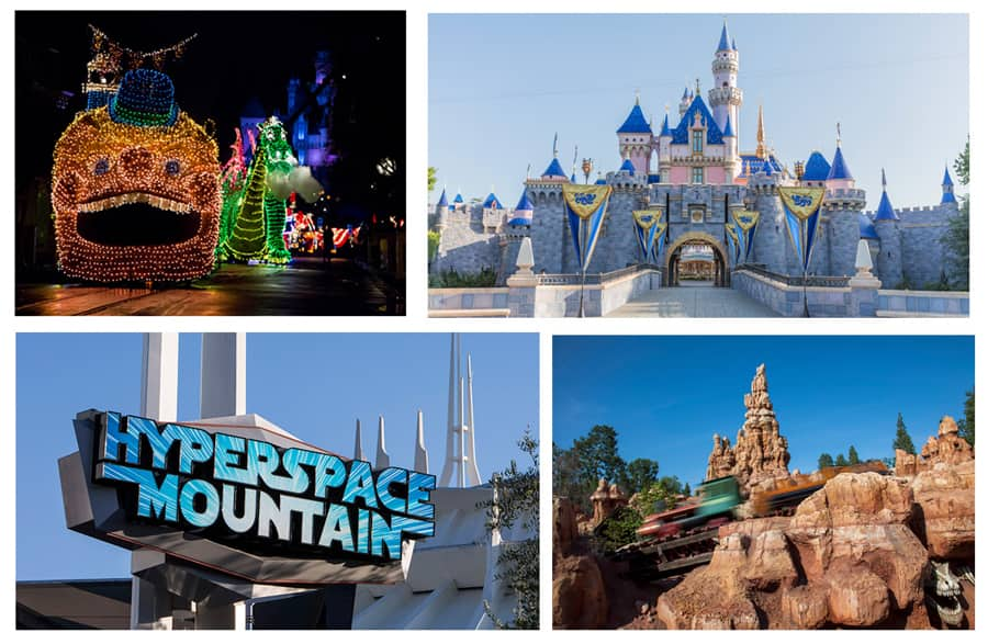 Main Street Electrical Parade, Sleeping Beauty Castle, Hyperspace Mountain and Big Thunder Mountain Railroad at Disneyland park