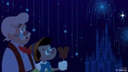 Pinocchio and Geppetto Enjoy the 'Happily Ever After' Fireworks at Magic Kingdom Park in this Disney Doodle by artist Ashley Taylor