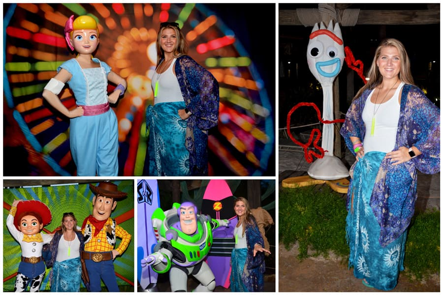Collage of photo ops found at Disney H2O Glow Nights at Disney's Typhoon Lagoon Water Park