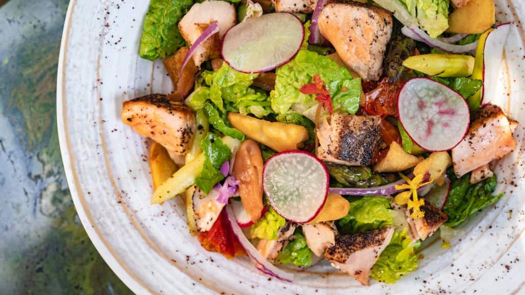Lemon-Sumac Salmon Salad from GCH Craftsman Bar & Grill at Disney's Grand Californian Hotel & Spa