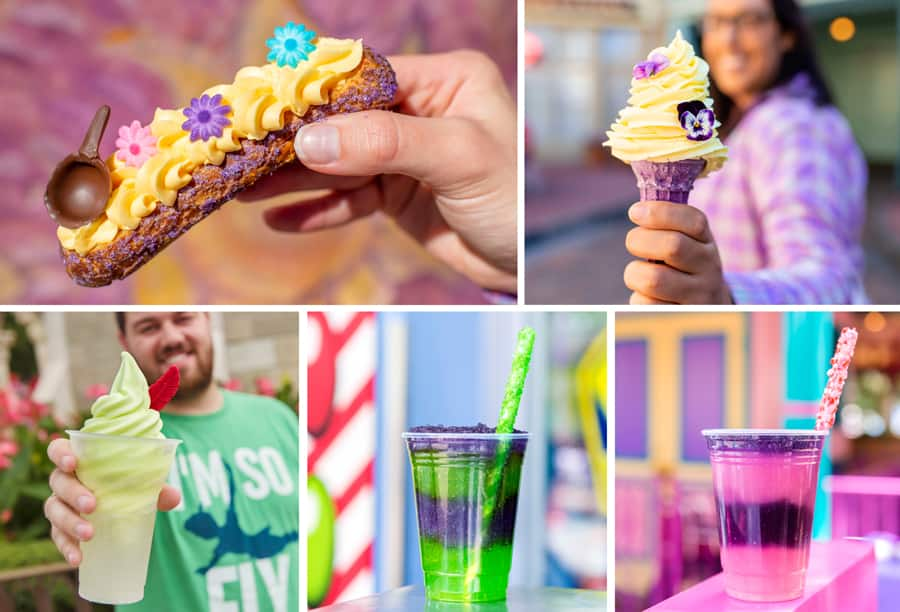 Specialty Offerings at Magic Kingdom Park  Tangled Wall Éclair,  Lost Princess Cone with Dole Whip Lemon, Peter Pan Float,  Space Ranger Slush and Wonderland Slush