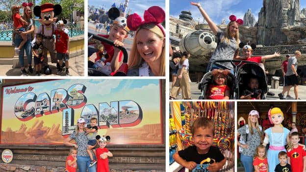 Collage of Kristin from the Disney Parks Moms Panel and her family at Disneyland park and Disney California Adventure park