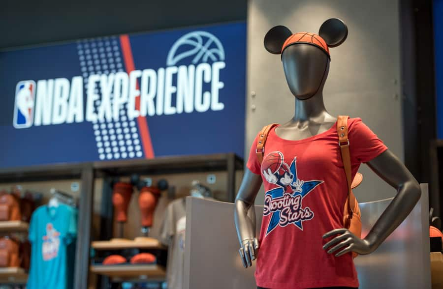 Basketball Mickey Mouse Ear Hat and t-shirt in the NBA Store inside NBA Experience at Disney Springs