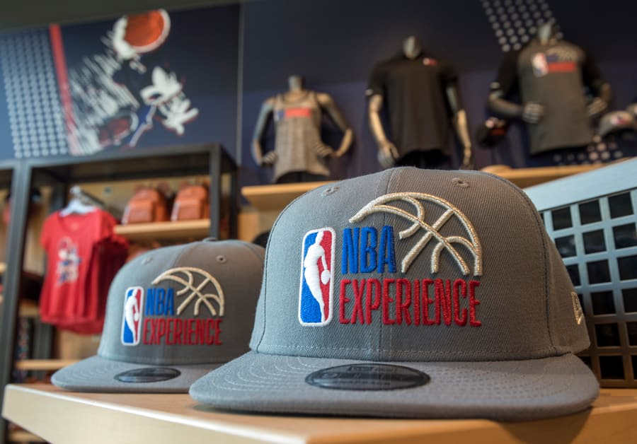 NBA Experience hats in the NBA Store inside NBA Experience at Disney Springs