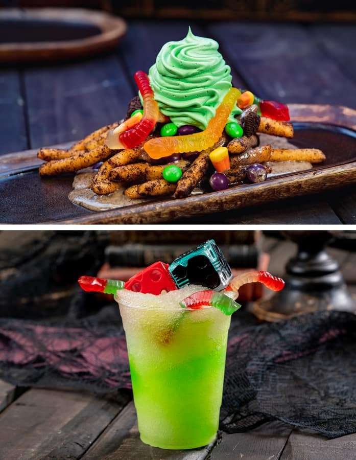 Oogie Boogie-inspired sweet funnel cake fries; concoction with dice glow cubes