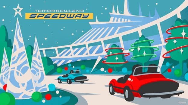 All-New Holiday Twist on Tomorrowland Speedway at Magic Kingdom Park