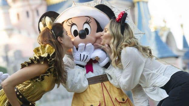 Fashion Models and Influencers Enjoy a Night of Festivities Kiss Minnie Mouse at Disneyland Paris