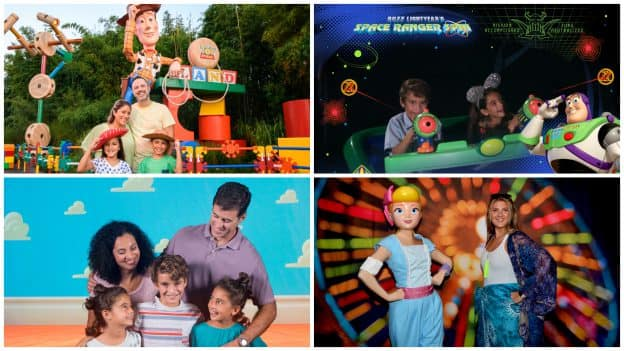 "Walt Disney World Resort Photo Spots Inspired by ""Toy Story"" - Toy Story Land at Disney's Hollywood Studios, Buzz Lightyear's Space Ranger Spin at Magic Kingdom Park, Disney PhotoPass Studio at Disney Springs and Meeting Bo Peep at Disney H2O Glow Nights at Disney's Typhoon Lagoon"
