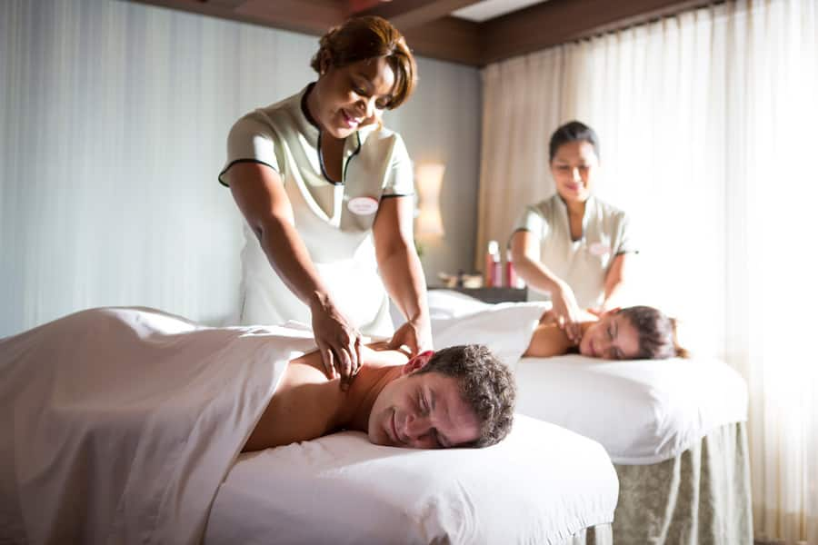 Couple's massage at a Disney Cruise