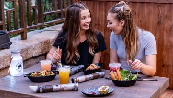 Guests try a variety of food and beverage in Star Wars: Galaxy's Edge at Disneyland park