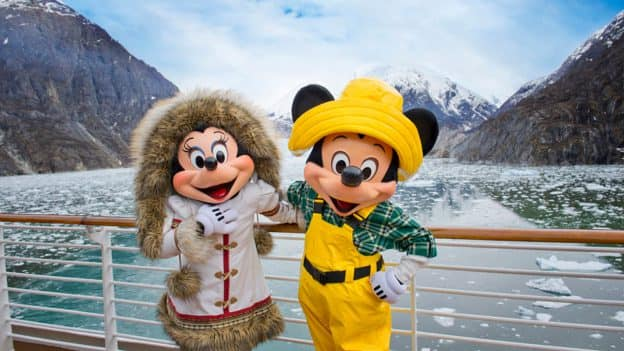 Mickey Mouse and Minnie Mouse aboard the Disney Wonder in Alaska