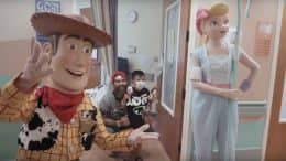 Woody and Bo Peep meet with families at the Kapi'olani Medical Center for Women and Children in Honolulu