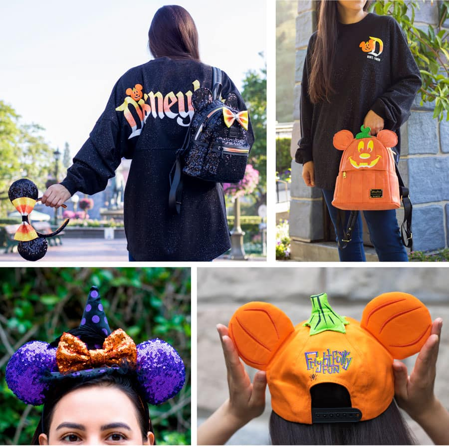 Collage of Halloween merchandise at Disney Parks - Spirit Jersey, hat, Minnie ear headbands and Loungefly backpacks