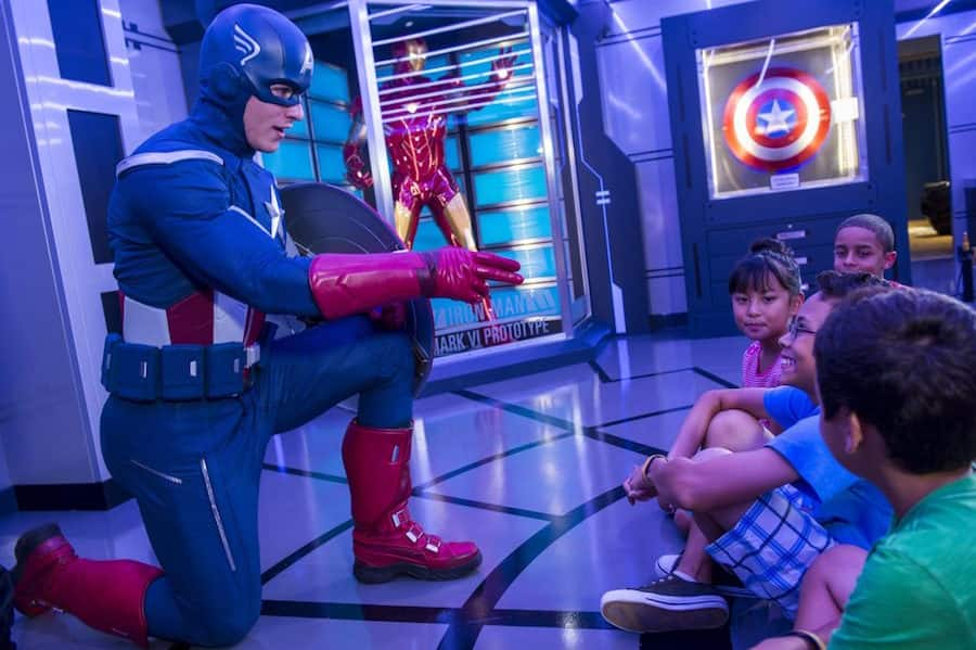 Captain America with kids on the Disney Magic