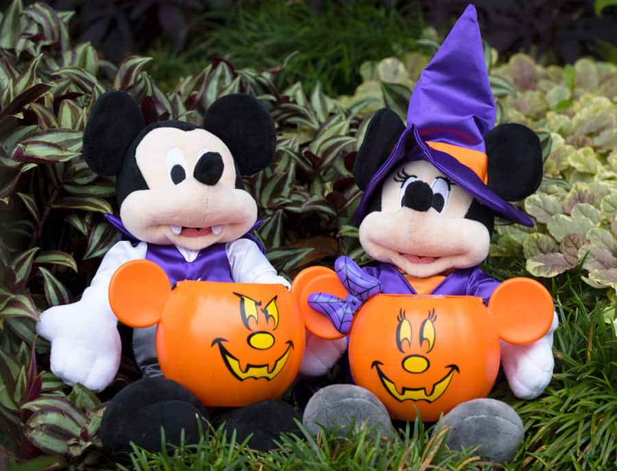 Mickey and Minnie Halloween plush and Mickey and Minnie-inspired jack o'lanterns