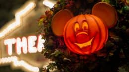 Pumpkin Mickey decoration for Fall at Magic Kingdom Park