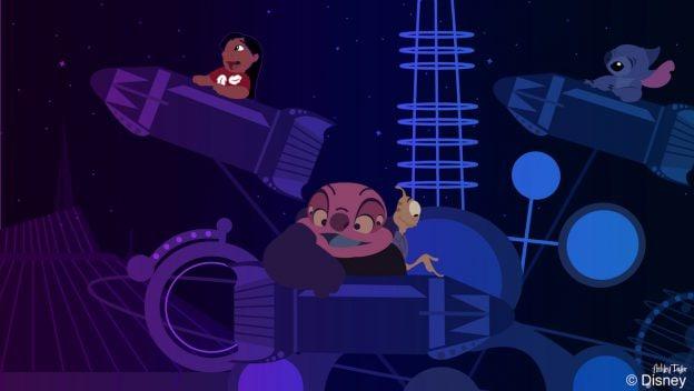 Stitch Visits Astro Orbiter at Magic Kingdom Park