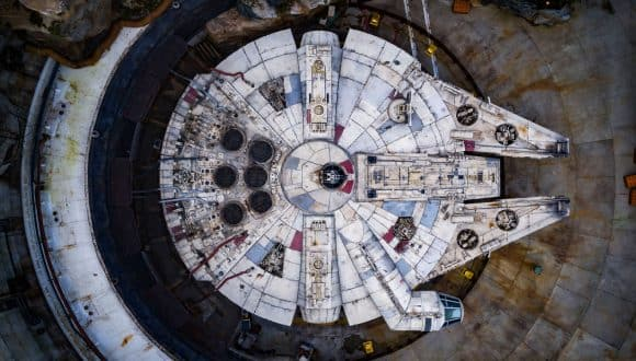 Bird's-Eye View of the Millennium Falcon in Star Wars: Galaxy's Edge