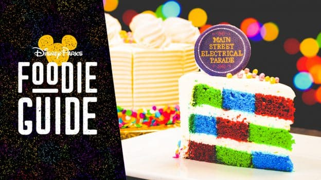 Foodie Guide to Main Street Electrical Parade Eats and Treats at Disneyland Park - featuring the Main Street Electrical Parade Cake from Plaza Inn at Disneyland Park