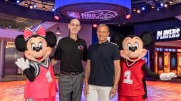 Disney Chairman and CEO Bob Iger and NBA Commissioner Adam Silver celebrate the grand opening of NBA Experience at Disney Springs with Mickey Mouse and Minnie Mouse.