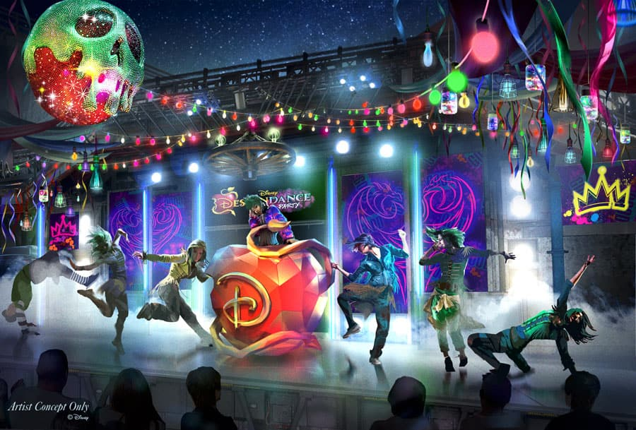 Artist rendering of DescenDANCE Party at Oogie Boogie Bash – A Disney Halloween Party at Disney California Adventure Park