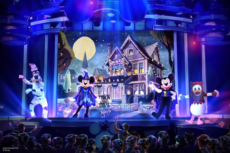 "Artist rendering of ""Mickey's Trick & Treat"" stage production at Oogie Boogie Bash – A Disney Halloween Party at Disney California Adventure Park"