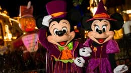 Mickey and Minnie Mouse dressed up for Mickey's Not-So-Scary Halloween Party