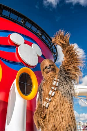 Chewie on the Disney Fantasy for Star Wars Day at Sea