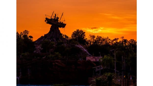 Sunset behind Miss Tilly at Disney's Typhoon Lagoon