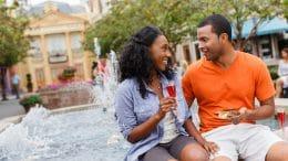 Couple enjoying Epcot International Food & Wine Festival