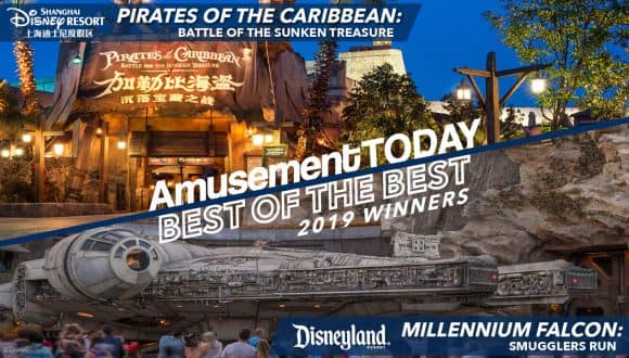 Amusements Today Best of the Best 2019 Winners: Pirates of the Caribbean: Battle of the Sunken Treasure and Millenium Falcon: Smuggler's Run