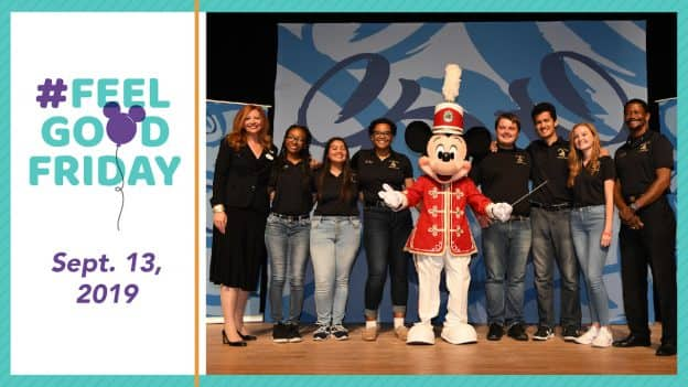 Mickey Mouse with High School Band students