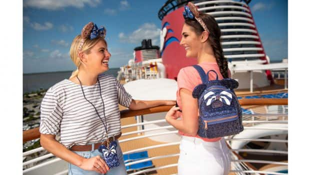 New Nautical Navy Color Story Collection Debuts Exclusively on Disney Cruise Line - Minnie ear headbands, Loungefly backpack and lanyard