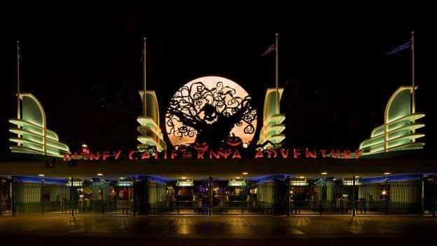 Disney California Adventure park entrance during Halloween Time