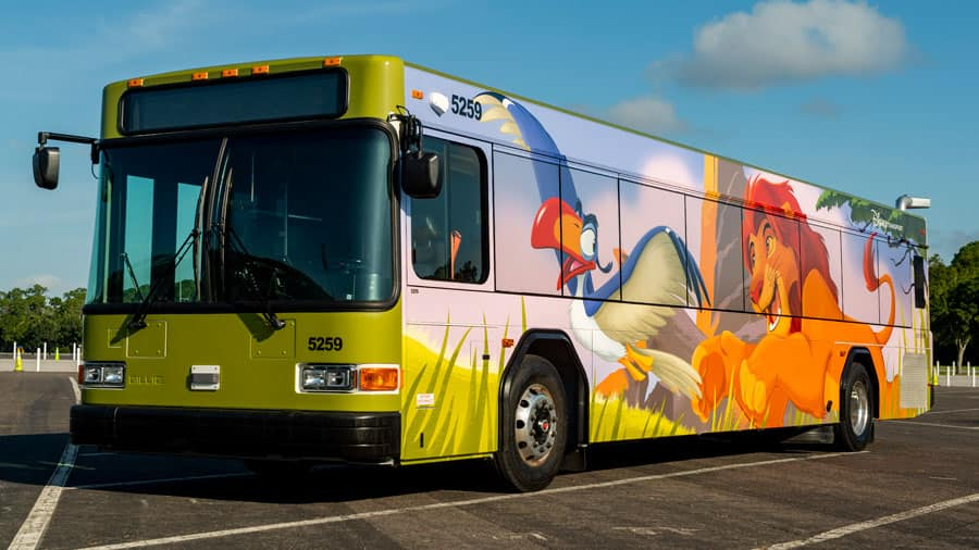 Walt Disney World bus featuring Simba and Zazu