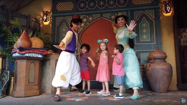 Kids meeting Aladdin and Jasmine at Magic Kingdom Park
