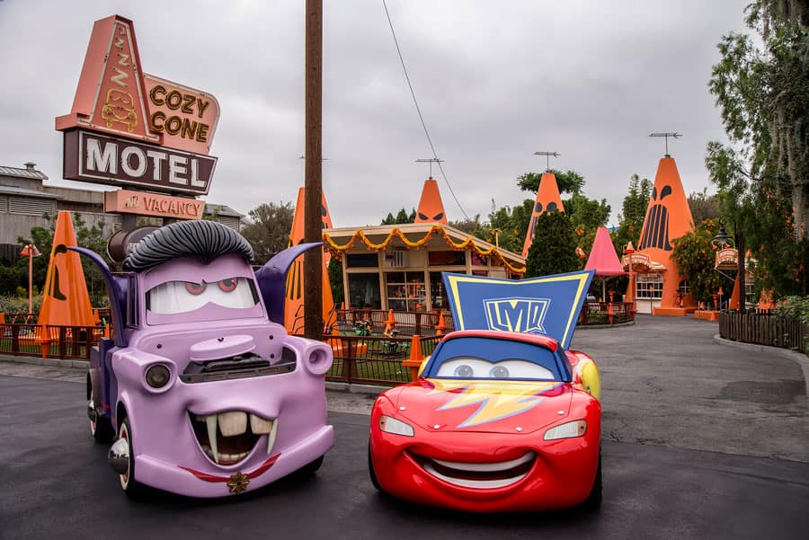 Lightning McQueen and Mater in their Halloween car-stumes