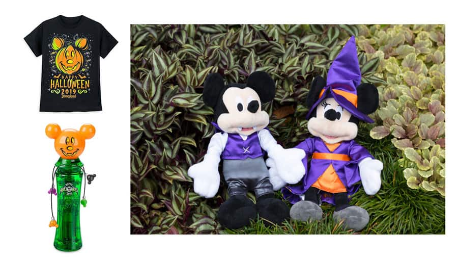 """Happy Halloween"" kids t-shirt, glow pumpkin spin toy and Mickey vampire and Minnie witch plush toy"