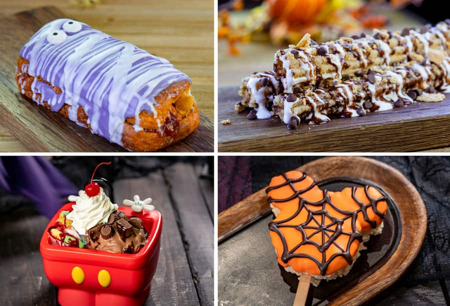 Peanut butter and jelly Mummy Donut, S'mores Churro, Trick-or-Treat Sundae Duo, and Mickey-shaped Spider Web Crispy Treat